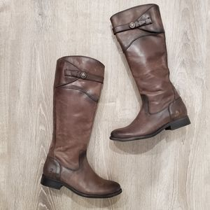 NEW Frye Melissa Button Distressed Brown Boots